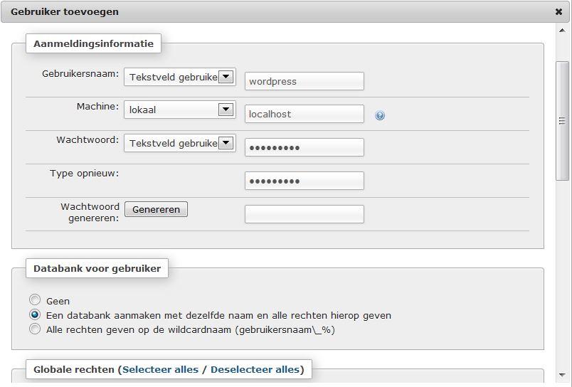 PHP-Admin (Xampp) gebruiker toevoegen