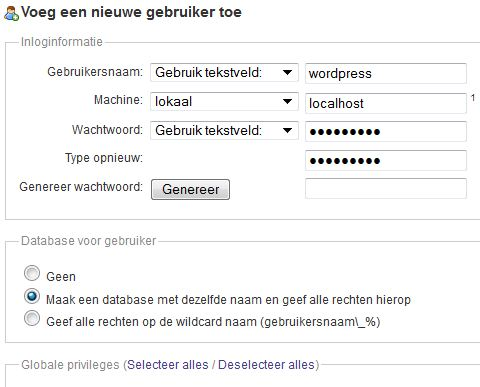 SQL-database en -gebruiker aanmaken